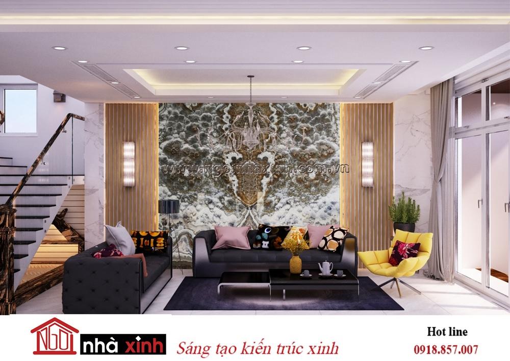 nội thất đẹp phòng khách nhà anh Lâm ở Nghệ An do Nhà Xinh thiết kế