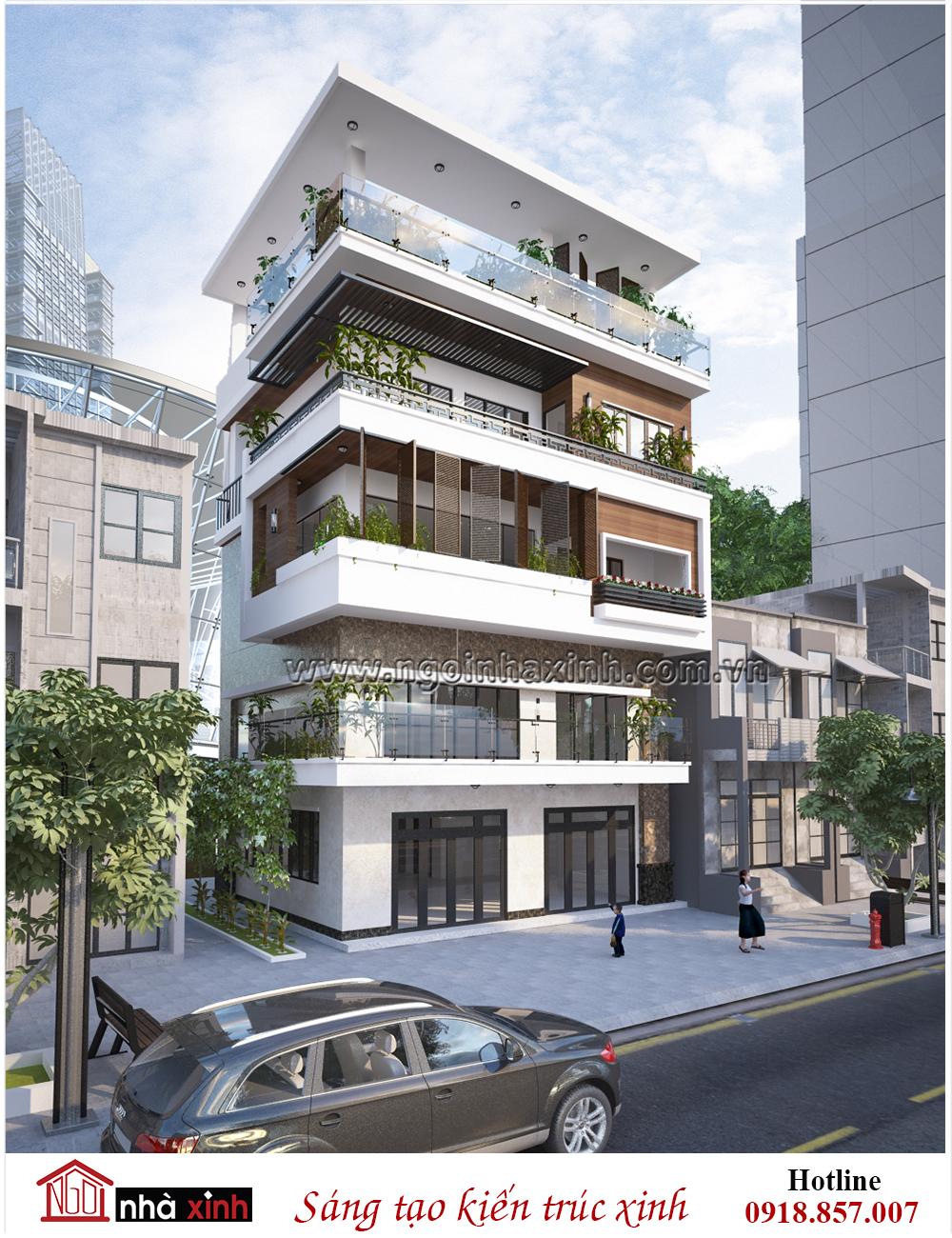 Mẫu thiết kế nhà phố đẹp hiện đại Chị Hoa - Nguyễn Văn Luông - Hình 1