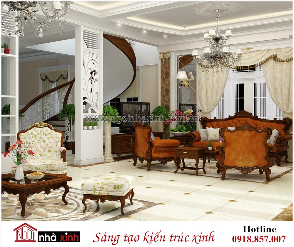 biệt thự đẹp, nội thất phòng khách biệt thự đẹp, mẫu thiết kế biệt thự cổ điển, nha xinh, noi that nha xinh, ngôi nhà xinh