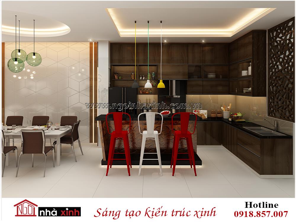 nội thất đẹp phòng bếp phong cách hiện đại nhà chị Phương Bầu Bàng do nhà xinh thiết kế