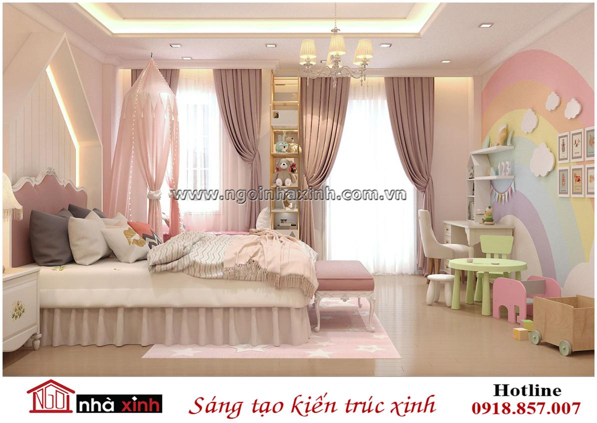 nhà xinh, nội thất đẹp, thiết kế phòng ngủ con gái đẹp nhà chị Hạnh City Land Gò Vấp