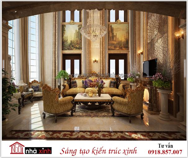 nội thất phòng khách đẹp cổ điển nhà anh Sang do Nhà Xinh thiết kế